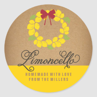 Limoncello Label, 3 inch round lemon sticker