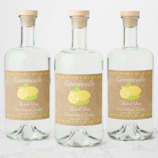 Limoncello Lemon Fruit Personalized Thank You Liquor Bottle Label
