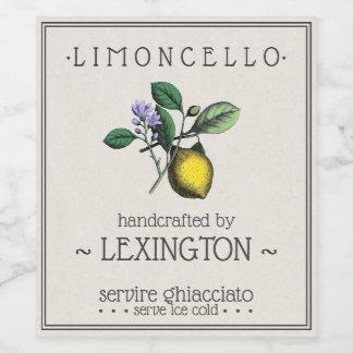 Limoncello Lemon Illustration Tall Bottle Label  