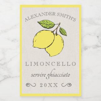 Limoncello Lemons Small Liqueur Label  