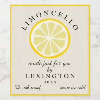 Limoncello Made Just For You Bottle Label |