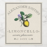 Limoncello Vintage Lemon Illustration Label |