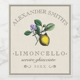 Limoncello Vintage Lemon Illustration Label |