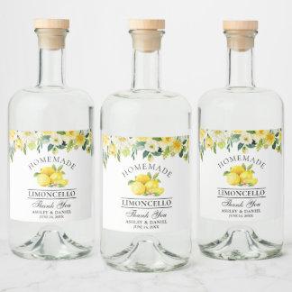Limoncello Watercolor Lemons Floral Liquor Bottle Label