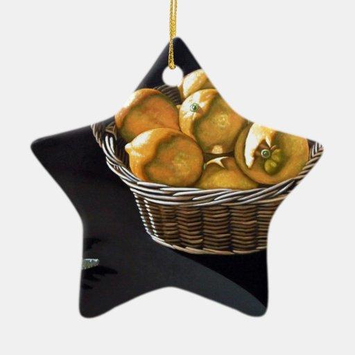 Limones amarillos adorno de cerámica en forma de estrella
