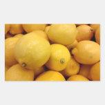 Limones amarillos pegatina rectangular