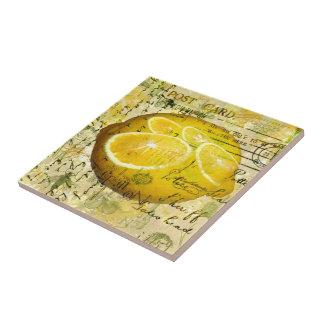 Limones de la postal azulejo cuadrado pequeño