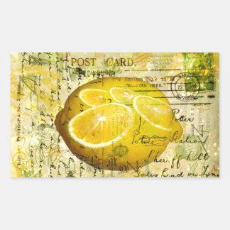 Limones de la postal pegatina rectangular