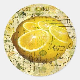 Limones de la postal pegatina redonda