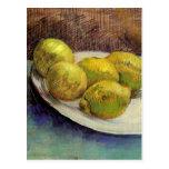 Limones de Van Gogh en una placa, todavía del vint