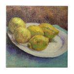 Limones de Van Gogh en una placa, todavía del vint Azulejos Cerámicos