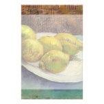 Limones de Van Gogh en una placa, todavía del vint Papeleria Personalizada
