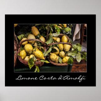 Limones del restaurante del italiano de la costa d póster
