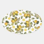 Limones del vintage pegatina ovalada