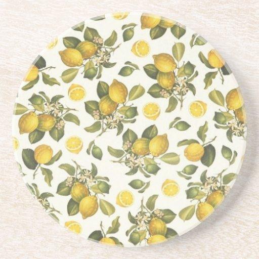 Limones del vintage posavasos de arenisca