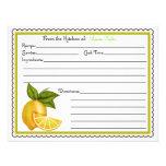 Limones dulces que cuecen cocinando tarjetas de la invitacion personalizada