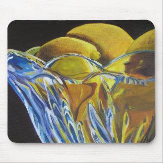 Limones en estera del ratón del bol de vidrio tapete de ratones