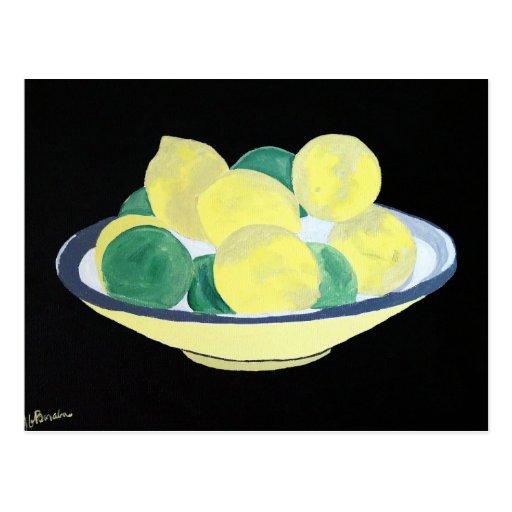 Limones en la pintura del cuenco postales