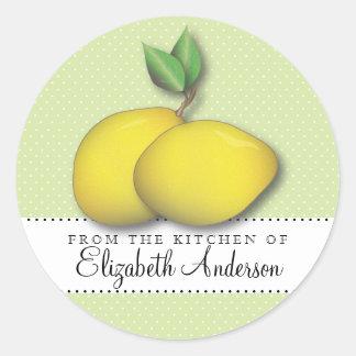 Limones en lunar verde de la etiqueta de la cocina