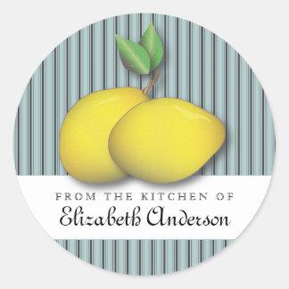Limones en moda azul de la hornada de la etiqueta