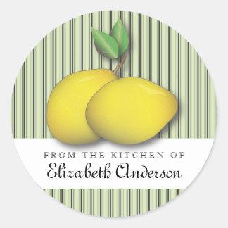 Limones en moda verde de la hornada de la etiqueta