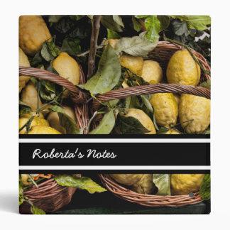 "Limones italianos elegantes en una cesta carpeta 1 1/2"""