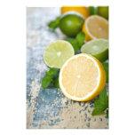 Limones y cales con la menta fresca cojinete