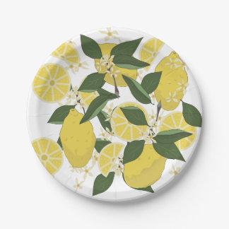 Limones y limón medios plato de papel 17,78 cm