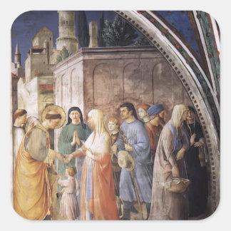 Limosnas de distribución del Fra Angelico- St Step Calcomania Cuadradas Personalizadas