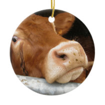 Limousin Cattle (Mad Cow) Ceramic Ornament