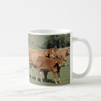Limousin cow and calf classic white coffee mug