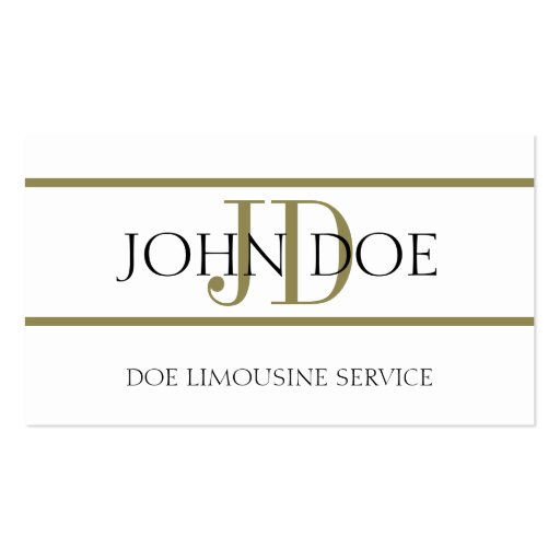 Limousine Service White/Gold Stripe Business Card Templates