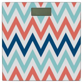 Limpet Shell Peach Echo Snorkel Blue Chevron Print Bathroom Scale
