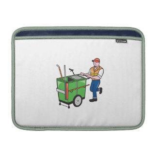 Limpiador de calle que empuja el dibujo animado de funda  MacBook