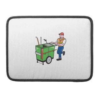 Limpiador de calle que empuja el dibujo animado de funda para macbook pro
