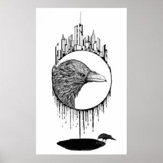 Limpiador, dibujo abstracto de la tinta del pájaro póster
