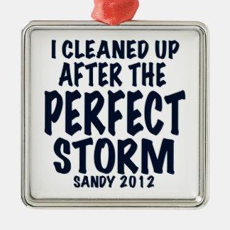 Limpié después de la tormenta perfecta, Sandy Adorno Navideño Cuadrado De Metal
