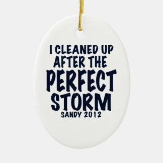Limpié después de la tormenta perfecta, Sandy Adorno Navideño Ovalado De Cerámica