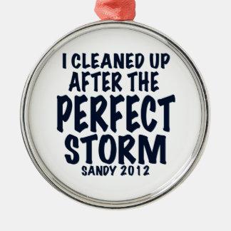 Limpié después de la tormenta perfecta, Sandy Adorno Navideño Redondo De Metal