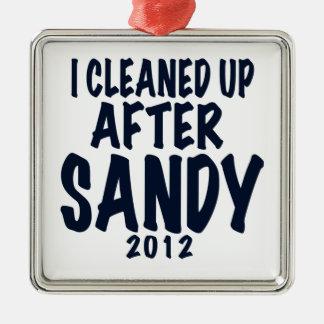 Limpié después de Sandy 2012, huracán Sandy Adorno Navideño Cuadrado De Metal
