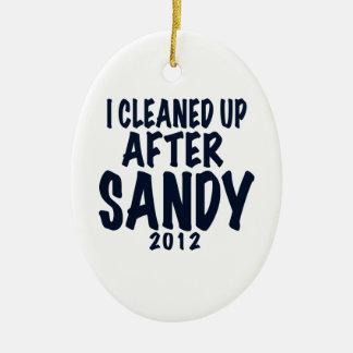 Limpié después de Sandy 2012, huracán Sandy Adorno Navideño Ovalado De Cerámica