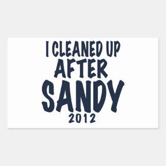 Limpié después de Sandy 2012, huracán Sandy Pegatina Rectangular
