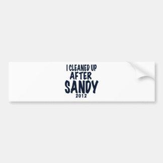 Limpié después de Sandy, regalos de Sandy del hura Pegatina De Parachoque