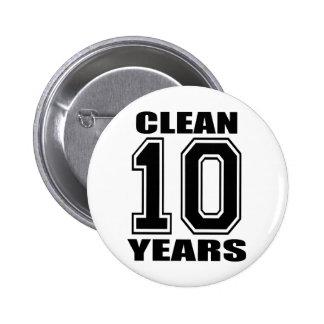 limpie diez años de buton negro pin redondo de 2 pulgadas