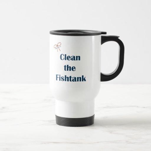 Limpie el acuario taza de café