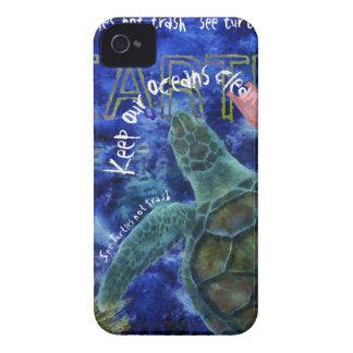 Limpie el arte de la tortuga de mar del océano funda para iPhone 4