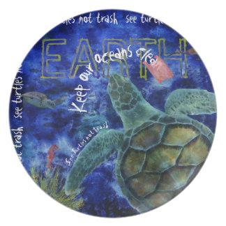 Limpie el arte de la tortuga de mar del océano plato para fiesta