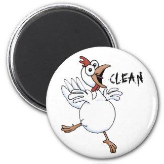 LIMPIE el lavaplatos (el pollo feliz) Imán Redondo 5 Cm