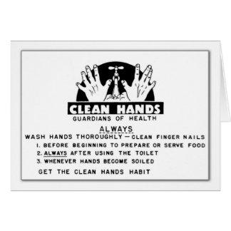Limpie el mensaje de las manos tarjeta de felicitación
