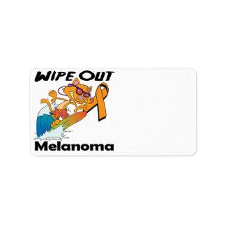 Limpie hacia fuera el melanoma etiqueta de dirección